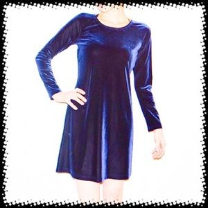 Vintage Royal blue crushed velvet babydoll dress